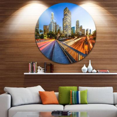 Design Art Downtown LA with Traffic Trail Cityscape Metal Circle Wall Art