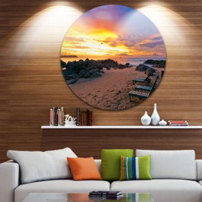 Design Art Khao Lak Beach View at Sunset SeashoreMetal Circle Wall Art