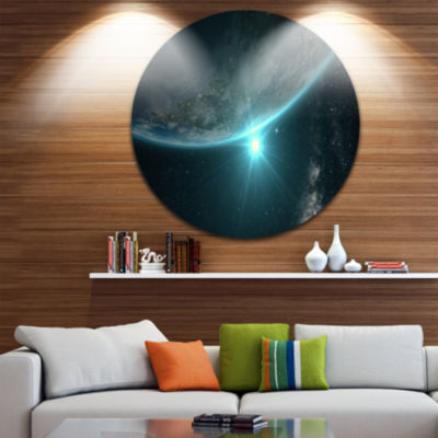 Design Art Sunrise in Earth from Space Contemporary Landscape Metal Circle Wall Art