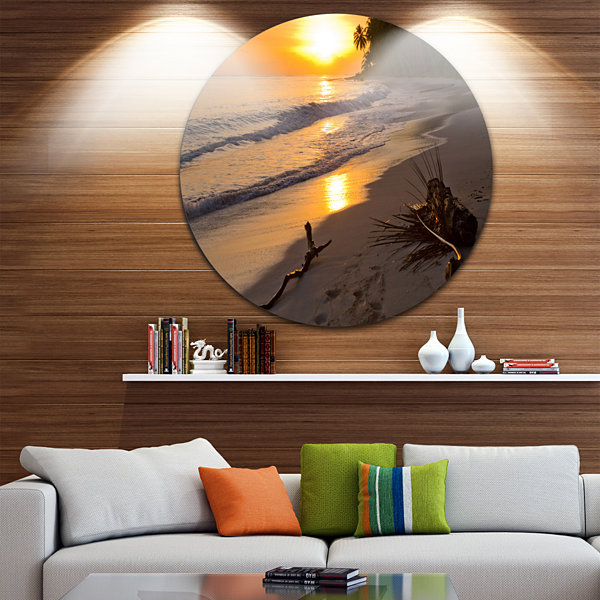 Design Art Palm Trees on Background at Sunset Extra Large Seascape Metal Wall Decor