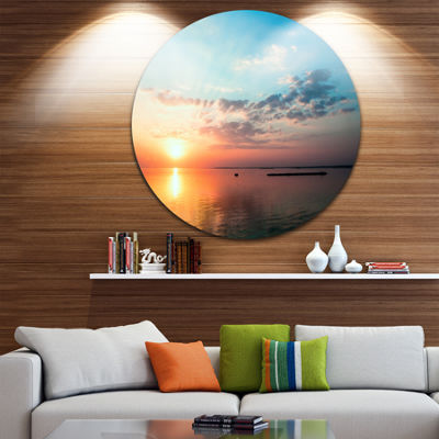 Design Art Dramatic Sunset Cloudy Sky Oversized Beach Metal Circle Wall Art