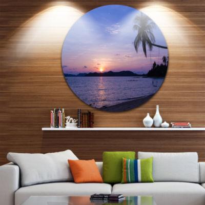 Design Art Hanging Seat in Blue Sunset Beach Seashore Metal Circle Wall Art