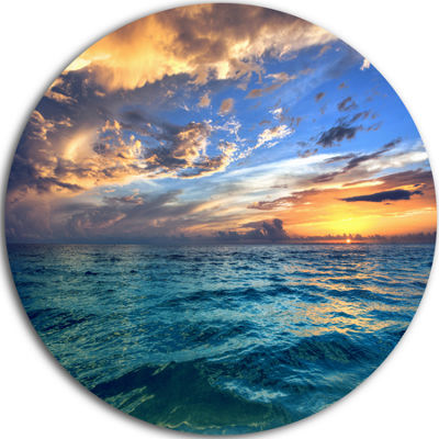 Design Art Exotic Tropical Beach at Sunset Seashore Metal Circle Wall Art
