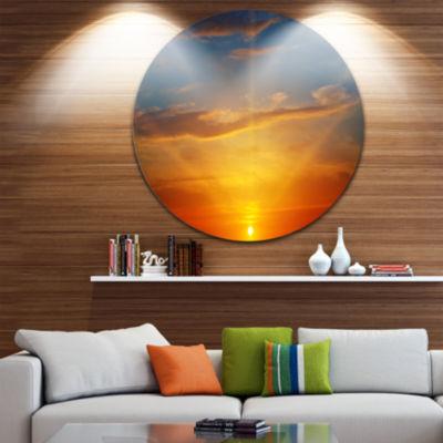 Design Art Sunlight in Sky above Horizon OversizedBeach Metal Circle Wall Art