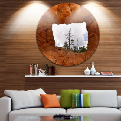 Design Art Sky through Red Canyon Window Contemporary Landscape Metal Circle Wall Art