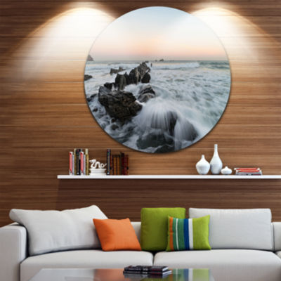 Design Art Bay of Biscay White Waves Hitting BeachSeashore Metal Circle Wall Art