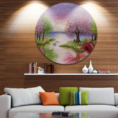 Design Art Romantic Lake in Pink and Green Extra Large Wall Art Landscape