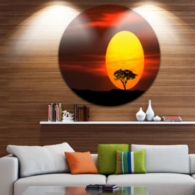 Design Art Lonely Tree with Birds at Sunset ExtraLarge Wall Art Landscape