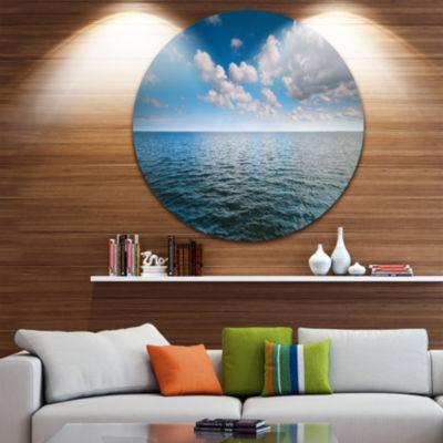 Design Art Cloudy Blue Sky above Sea Surface Oversized Beach Metal Circle Wall Art
