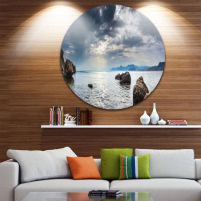 Design Art Black Seas in Crimean Peninsula Panorama Seashore Metal Circle Wall Art