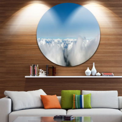 Design Art Bright Blue Sky above Clouds Contemporary Landscape Metal Circle Wall Art
