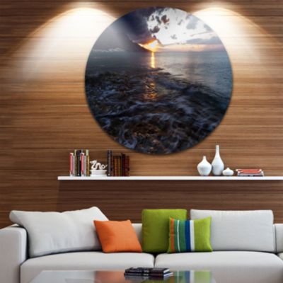 Design Art Gloomy Sea Coast at Sunrise Seashore Metal Circle Wall Art