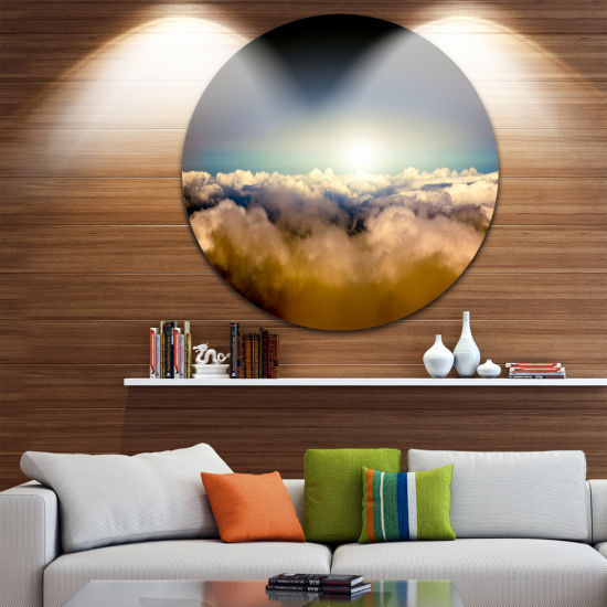 Design Art Gloomy Sky above Clouds Contemporary Landscape Metal Circle Wall Art