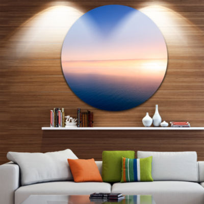 Design Art Clear Blue Sky above Clouds Oversized Beach Metal Circle Wall Art
