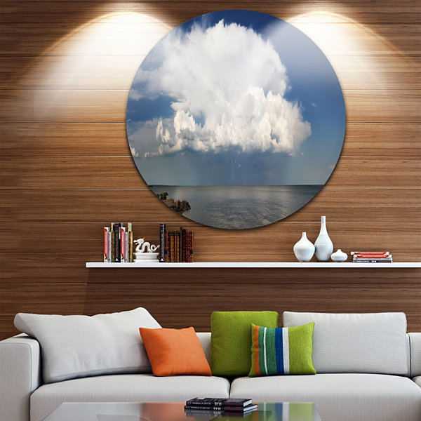 Design Art Heavy White Cloud above Sea Contemporary Landscape Metal Circle Wall Art