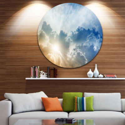 Design Art Stunning Blue Sky with Clouds Contemporary Landscape Metal Circle Wall Art