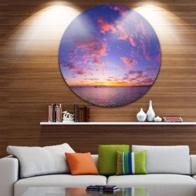 Design Art Composition of Nature Beautiful Seascape Landscape Metal Circle Wall Art