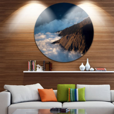 Design Art Clouds at the Foot of Hills Contemporary Landscape Metal Circle Wall Art
