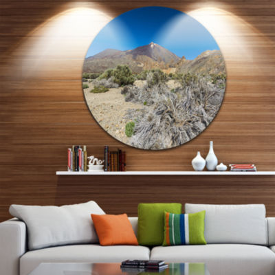 Design Art Caldera of the Volcano Teide Contemporary Landscape Metal Circle Wall Art