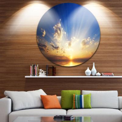 Design Art Sunset in the Ocean Blue Sky Panorama Seashore Metal Circle Wall Art