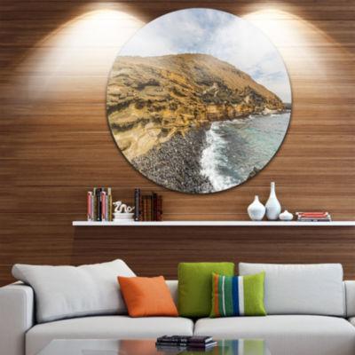 Design Art Peninsula Going Beyond the Horizon Seashore Metal Circle Wall Art