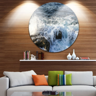 Design Art Waves Breaking on Stony Beach SeashoreMetal Circle Wall Art