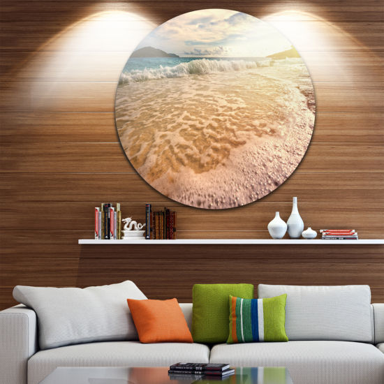 Design Art Vintage Style Beach at Similan Park Seashore Metal Circle Wall Art