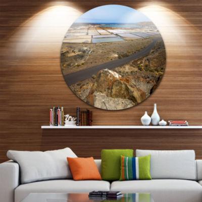 Design Art Salt in Lanzarote Spain Musk Pond Seashore Metal Circle Wall Art