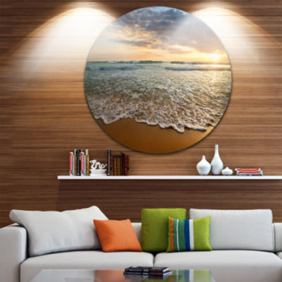 Design Art Bright Cloudy Sunset in Calm Ocean Seashore Circle Metal Wall Art