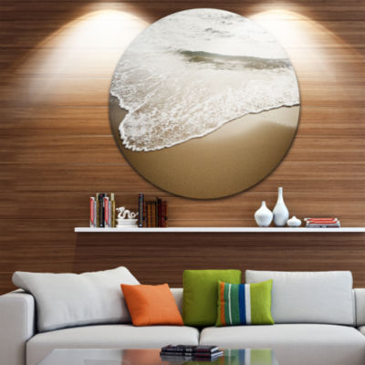 Design Art White Waves in Mediterranean Sea Seashore Metal Circle Wall Art