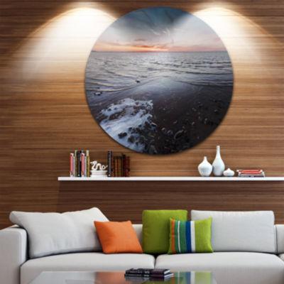 Design Art Beautiful Sunset on Chudskoy Lake Seashore Metal Circle Wall Art