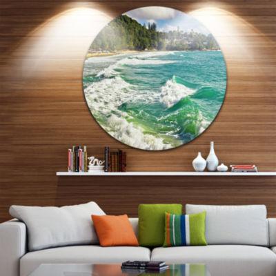 Design Art Exotic Tropical Beach Blue Waters Oversized Beach Metal Circle Wall Art