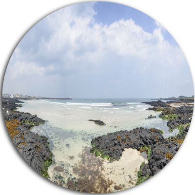 Design Art Panorama View of Woljeongri Beach Landscape Metal Circle Wall Art