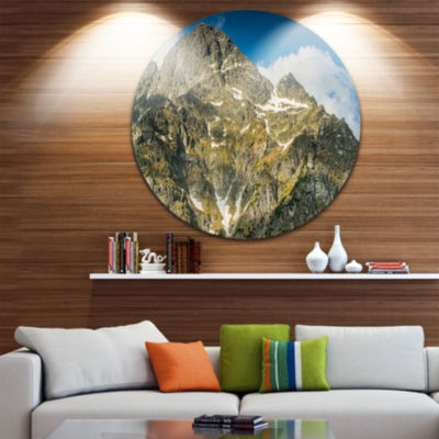 Design Art Rocky Summit in Tatra Mountains Contemporary Landscape Metal Circle Wall Art