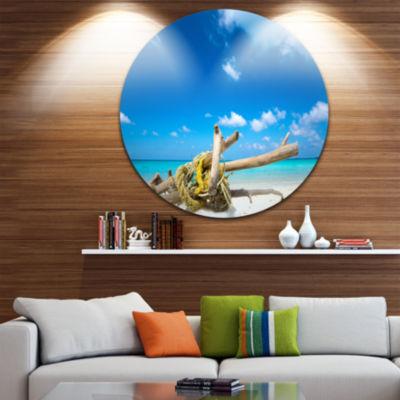 Design Art Deadwood on White Sand Beach Seashore Metal Circle Wall Art