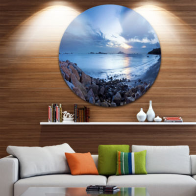 Design Art Blue Sea Sunset on Sandy Coastline Seashore Metal Circle Wall Art