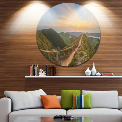 Design Art Hiking Trail and Beautiful Lakes Contemporary Landscape Metal Circle Wall Art