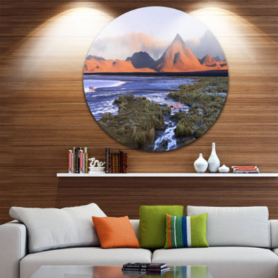 Design Art Colorada lagoon and Volcano Pabellon Landscape Metal Circle Wall Art