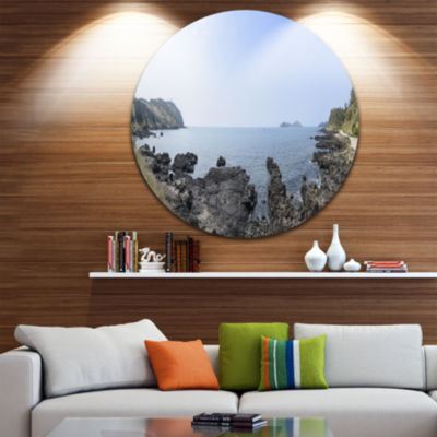 Design Art Landscape of Olle Walking Path Oversized Beach Metal Circle Wall Art