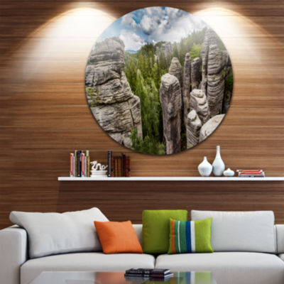 Design Art Beautiful Rocks in Bohemian Paradise Landscape Metal Circle Wall Art