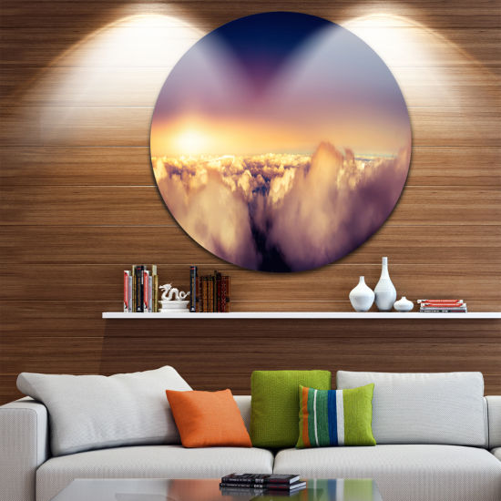 Design Art Blue Sky over Clouds Panorama LandscapeMetal Circle Wall Art