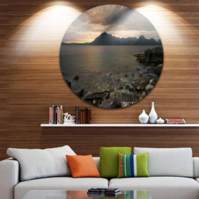 Design Art Rocky coastline of Loch Scavaig Contemporary Landscape Metal Circle Wall Art
