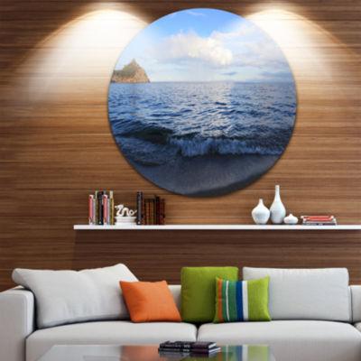 Design Art Wave with Whitecaps on Lake Baikal Seashore Metal Circle Wall Art