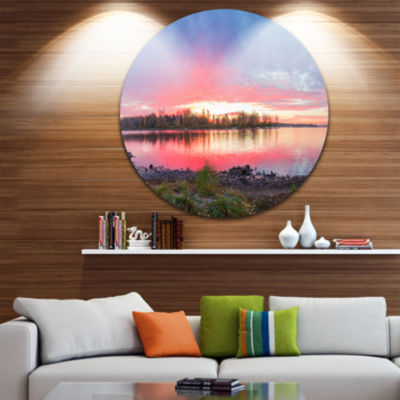 Design Art Beautiful Fall Sunrise Over River Landscape Metal Circle Wall Art