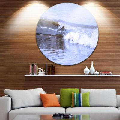 Design Art Crisp Blue Waves Splashing Beach Seashore Metal Circle Wall Art