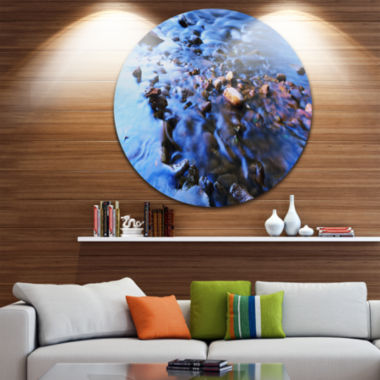 Design Art Rock Blue River Panorama Oversized Beach Metal Circle Wall Art
