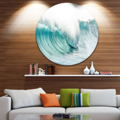 Design Art Massive Blue Waves Breaking Beach Seashore Metal Circle Wall Art