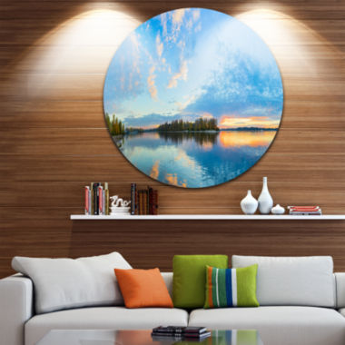 Design Art Exotic Sunrise on River Autumn Oversized Beach Metal Circle Wall Art