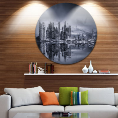 Design Art Singapore Skyline and Marina Bay Cityscape Metal Circle Wall Art