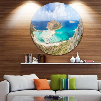 Design Art Balos Beach at Crete Island Greece Oversized Beach Metal Circle Wall Art